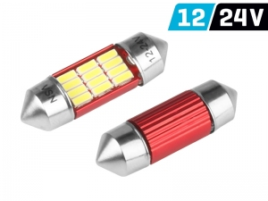 ŻARÓWKA C5W SV8.5 31MM 12/24V 12* SMD LED NONPOLAR CANBUS BIAŁA KPL 2 SZT.