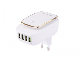 ŁADOWARKA SIECIOWA ZASILACZ 4*USB 4.4A + DOTYKOWA LAMPKA LED + ADAPTERY (WTYCZKI GNIAZD EU,UK,USA) MYWAY
