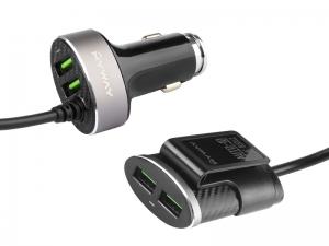 ŁADOWARKA SAMOCHODOWA 12/24V  2*USB  +  2*USB 5.1A AUTO ID NA PRZEWODZIE 100CM Z KLIPSEM