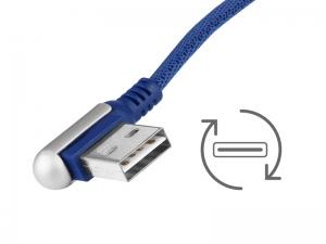 KABEL DO ŁADOWANIA I SYNCHRONIZACJI 120CM W OPLOCIE Z MIKROFIBRY DWUSTRONNE KĄTOWE USB - microUSB NAVY