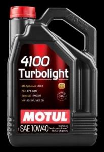 OLEJ MOTUL 4100 TURBOLIGHT 10W40 5L ACEA:A3/B4 API:SM/CF VW 501.01/505.00, MB 229.1, RENAULT RN 0700