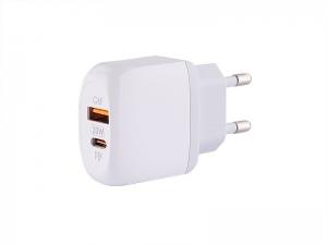 SZYBKA ŁADOWARKA SIECIOWA ZASILACZ 20W WYJŚCIE USB + WYJŚCIE USB-C  QC3.0 MYWAY