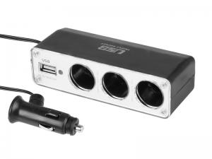 ROZGAŁĘZIACZ GNIAZDA ZAPALNICZKI POTRÓJNY 12/24V Z USB 500mA
