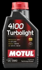 OLEJ MOTUL 4100 TURBOLIGHT 10W40 1L ACEA:A3/B4 API:SM/CF VW 501.01/505.00, MB 229.1, RENAULT RN 0700